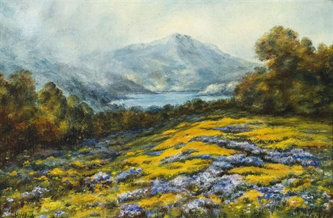 haydock mt tamalpais with poppies and lupine by william franklin jackson