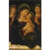 madonna che abbraccia il bambino e due angeli by liberale da verona