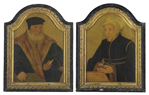 portrait of a bearded gentleman in a black coat and cap portrait of a lady in a black gown and white wimple holding a book pair by bartholomäus barthel bruyn the younger