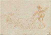 four ephebes (recto); plan of a building (verso) by correggio