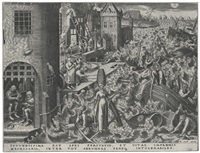hope; charity; prudence; and fortitude (4 works by philips galle) (from the seven virtues) by pieter brueghel the elder