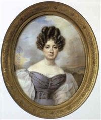 portrait de femme en robe mauve by henri-joseph hesse