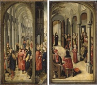 the betrothal of the virgin (+ christ amongst the doctors; pair) by flemish school-brussels (15)
