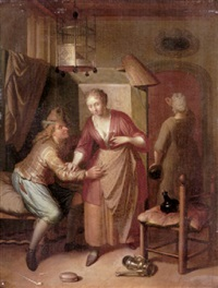 an interior with an amorous couple, a procuress in the doorway by frans decker