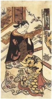 ageya kotatsu yujo fu (attitude d'une courtisane de la maison ageya assise sur un kotatsu) by okumura toshinobu