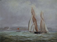 race between the yachts, era & iolaulee as they appeared round off sow & pigs (sydney harbour) by charles f. gerrard