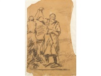 figures working in the field (+ another charcoal sketch by the same hand of cows in a field, 11 x 22cm. (2)) by harry becker