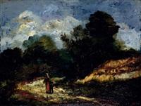 femme et enfant sur un chemin by marie nicolas honoré du veyrier