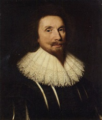 portrait of a gentleman in a slashed black doublet and lace collar by adam de colone