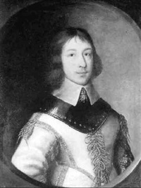 portrait of fergus conroy of clonahee, bust length wearing buff leather jerkin with gold braid by gilbert jackson