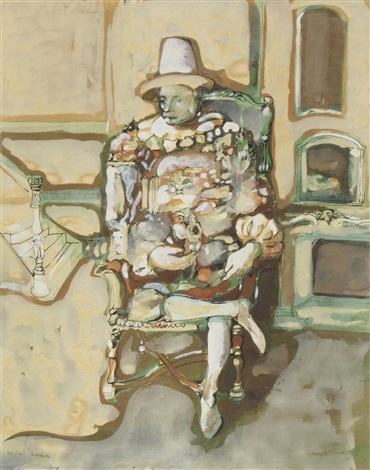 sitting man in white hat by endre nemes