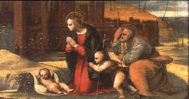 la sainte famille avec saint jean baptiste by amico aspertini