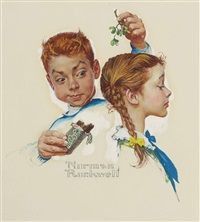 mistletoe and a milky way by norman rockwell