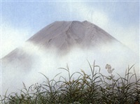 mount fuji and autumn grasses by somei tsubouchi