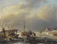 peasants pushing a sledge on a frozen river by jan david geerling grootveld