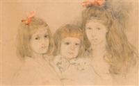 three children portrait by stanislaw bohusz-siestrzencewicz