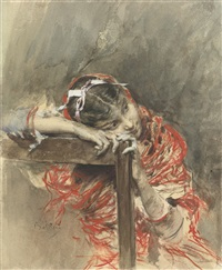 a girl wearing a red shawl by giovanni boldini