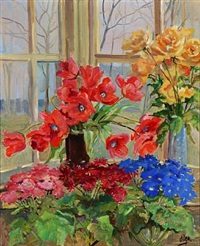colourful flowers in a windowsill in the garden room at knudsminde, denmark by olga (grand duchess) alexandrovna