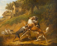 dogs fighting by charles towne