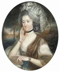 portrait of lady hill, née mary pole, wife of sir rowland hill, 1st bt. in a white and gold dress and a lace headdress... by john russell