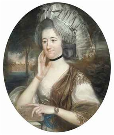 portrait of lady hill née mary pole wife of sir rowland hill 1st bt in a white and gold dress and a lace headdress by john russell