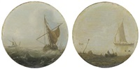 shipping in choppy waters (+ a calm sea with sailing vessels; pair) by hans (johan) goderis