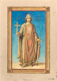 design for an icon of st. alexander nevsky by vasily andreevich barvitov