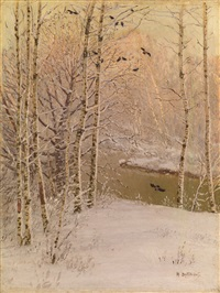 river running through a wintry forest by nikolai nikanorovich dubovskoy