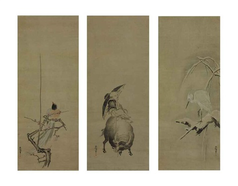 magpie on plum isei zenshi on a water buffalo heron on snow covered willow triptych by kano yasunobu