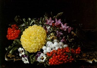 still life with chrysanthemum, pansies and berries by agnes aggerup