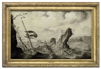 a man-o'war driving onto rocks in a gale by adriaen van salm