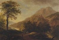landschaft mit berg und burg by ludwig hess