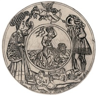 aristotle and phyllis, surrounded by a young man and woman with eros by baccio baldini