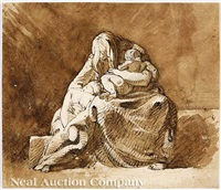 sorrowing mother with two children - a babe and a youth by alexander runciman