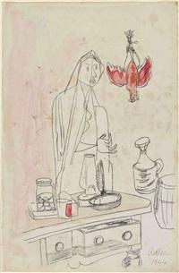 küchenstillleben und weibliche figur by jankel adler