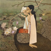 picking lotuses by cheong soo pieng