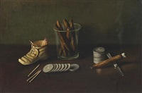 a still life with cigars, silver dollars, pocket knife, a shoe and matches by f. miller