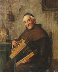 monk with an accordion by giovanni sandrucci