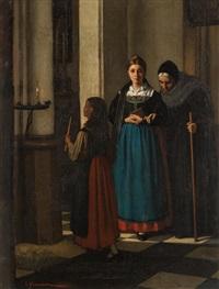 three women in church interior by constantin meunier