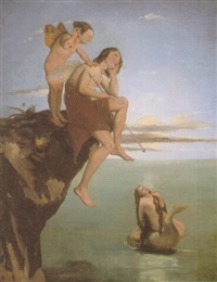 oberon and puck listening to the mermaid's song by david scott