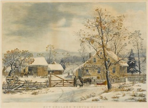 new england winter scene after george henry durrie by currier ives publishers