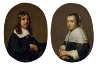 portrait de jacob van vaerle (+ portrait d'elizabeth van vaerle; pair) by jan de bray