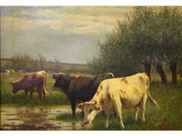 cows watering by william frederick hulk