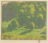 (untitled); and three colors superimposed; 2 works) by gustave baumann