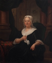 portrait of jan cornelisz. backer, portrait of anna catharina ten grootenhuys (2 works) by jan maurits quinkhardt