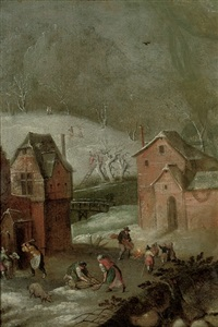 a winter landscape with peasants slaughtering pigs in a courtyard by abel grimmer