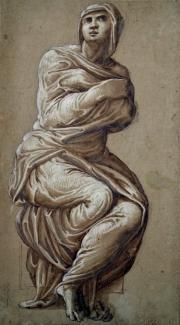 etude de femme drapée (study) by michelangelo