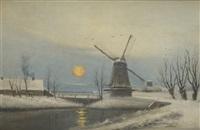 paysage hivernal avec moulin by emile spilliaert