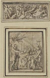 un dieu fleuve entouré de putti; et le triomphe de marcus furius camillus (2 works on 1 mount) by perino del vaga