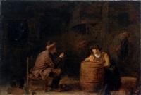 ein mann bietet einer rauchenden frau eine münze an by pieter harmensz verelst